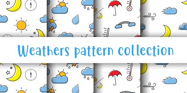 天気シームレスパターンコレクション。