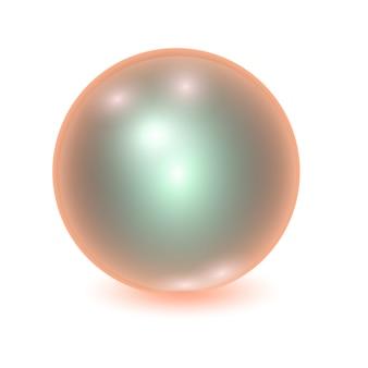 現実的なオレンジ色の金属ボール、光のパッチで輝く球