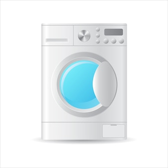 自動洗濯機、白で隔離