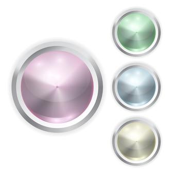 金属フレームと現実的なカラーガラスボタンのセット