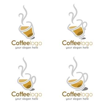 コーヒーカップホット暖かいショップロゴ