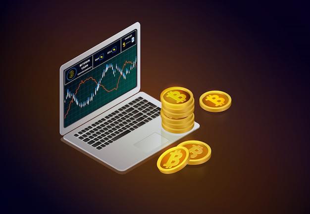 Криптовалютный фондовый рынок. ноутбук с планшетами биткойнов на экране и биткойн из золота