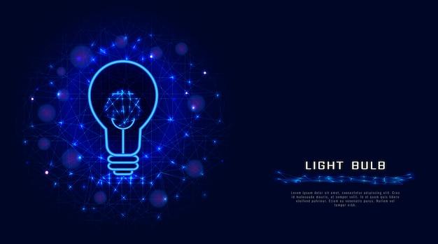 線、点および三角形、抽象的な青い背景からランプまたは電球。