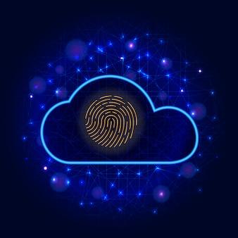 サイバーセキュリティ。バイオメトリック指紋スキャナーアイコン多角形でクラウドサイバーデータ保護