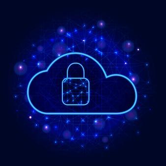 Технология кибербезопасности. безопасное облачное хранилище концепция защиты цифровых данных, значок замка