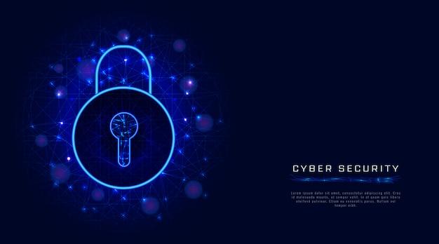 Кибербезопасность и защита конфиденциальности данных со значком замка. безопасный доступ путем аутентификации