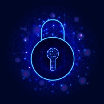 Кибербезопасность и защита конфиденциальности данных, значок замка. доступ с системой идентификации