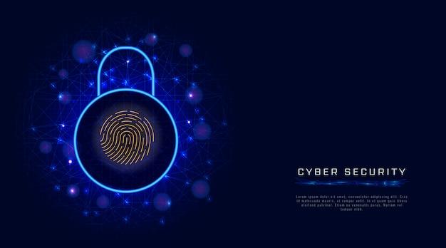 サイバーセキュリティ。データ保護、南京錠。指紋スキャナー識別による安全なアクセス