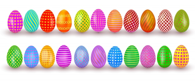 イースターエッグを設定します。白い背景上に分離されてパターンを持つカラフルなリアルな卵デザイン