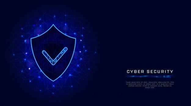サイバーセキュリティバナー。抽象的な青い背景上のチェックマークでシールドします。デジタルデータ保護