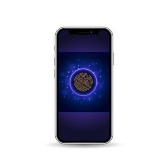 Мобильный телефон с экраном блокировки и сканером отпечатков пальцев для проверки