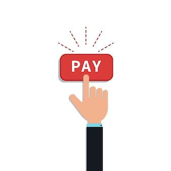 平らな手は赤い支払ボタンをクリックします。モバイル決済アプリ、顧客購入のためのデザイン要素