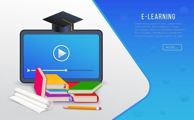 Онлайн-обучение, электронное обучение, исследования в колледже, учебные курсы с планшетом, книги, учебники и выпускной колпачок.