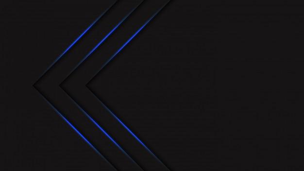 グラデーションブルーネオンライト矢印と未来的な抽象的な黒ハーフトーンの背景。創造的なカバーデザインテンプレート。