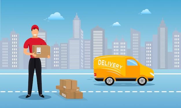 平らなベクトル貨物配達サービスの背景