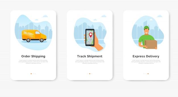 Заказать экспресс-доставку через интернет баннер. смартфон с мобильным приложением для отслеживания доставки, доставщик и фургон