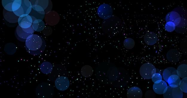 抽象的な青いボケ背景キラキラ円でぼやけたライト。