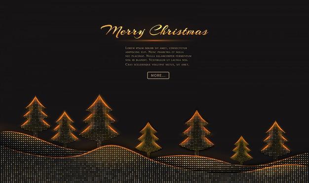 黒のクリスマスツリーとメリークリスマスと幸せな新年のグリーティングカード