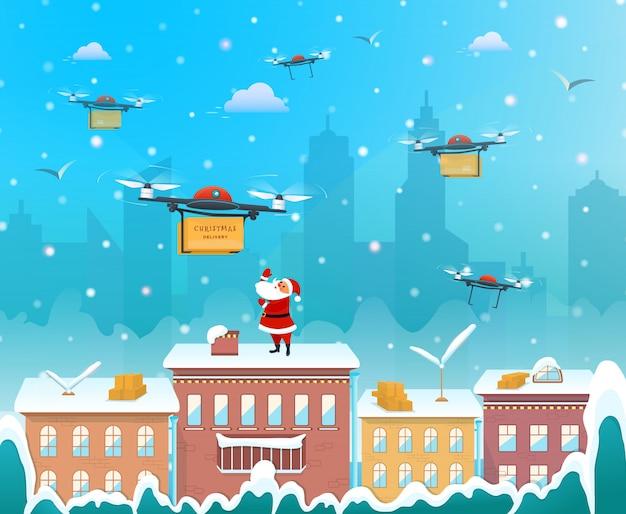 Санта-клаус на крыше дома с помощью беспилотника для доставки рождественский подарок