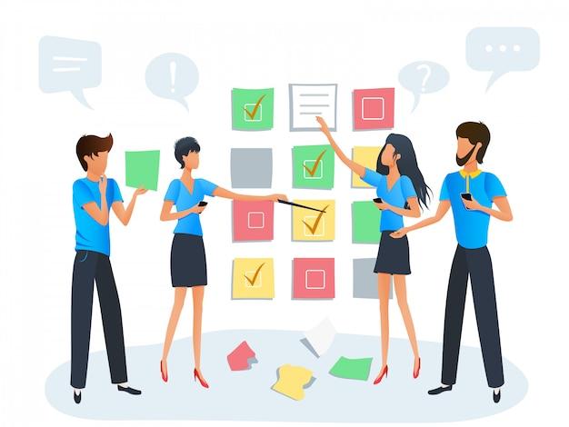 アジャイルスクラムタスクボード計画、ワークショップトレーニングを伴うプロジェクトに取り組んでいるビジネス人々のチーム