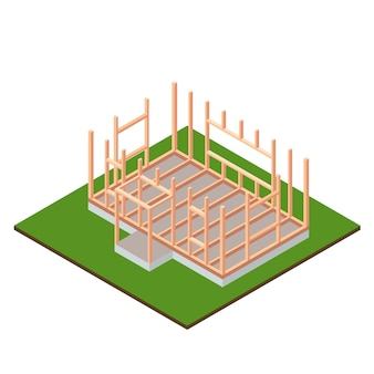 木材フレームハウスベースの建設設計。等尺性