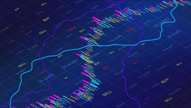 キャンドルスティック株式市場のグラフを追跡する。金融投資のための等尺性での外国為替取引