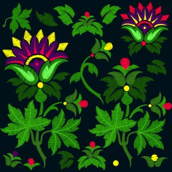 ファンタジーの花の刺繍