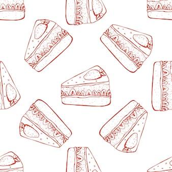 イチゴのケーキと手描きのシームレスパターン