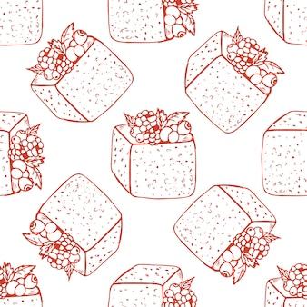 ベリーケーキと手描きのシームレスパターン