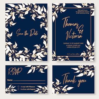 花の装飾的な要素を持つ結婚式の招待状のテンプレート。