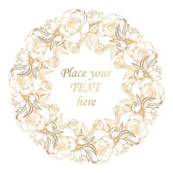 牡丹と黄金の花の花輪