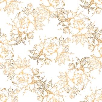 黄金の花の要素を持つ手描き下ろしシームレスパターン