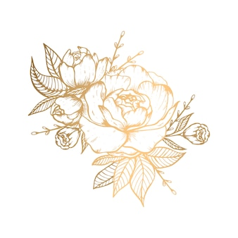 手描きのバラと黄金の花のイラスト
