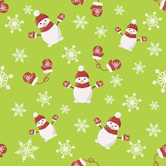 スノーフレークとシームレスなクリスマスのパターン
