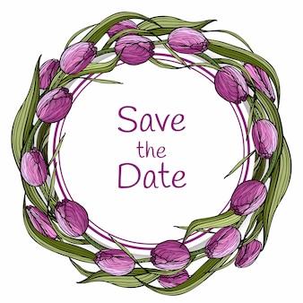 Дизайн шаблона с цветущими лиловыми тюльпанами