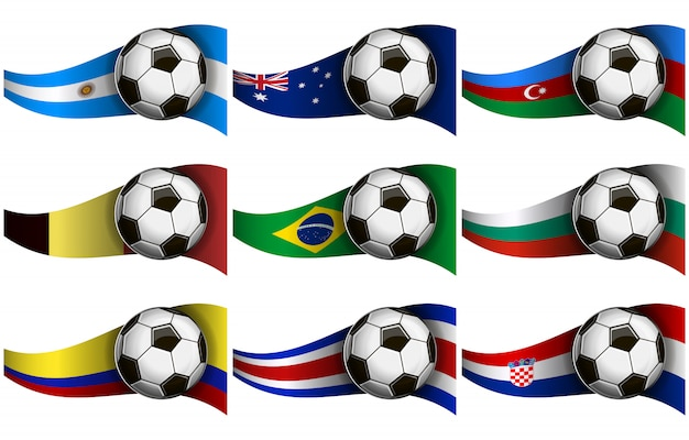サッカーボールと旗