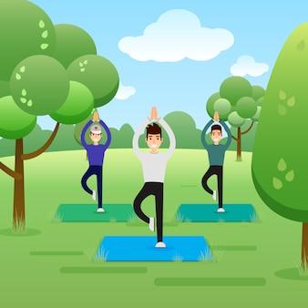 公園でヨガを練習している若い男性のグループ。バナー、サイト、ポスターテンプレート