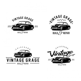 Установить винтажный автомобиль логотип