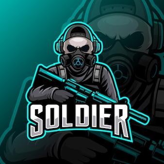 Солдат талисман киберспорт логотип