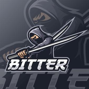 Ниндзя талисман киберспорт логотип