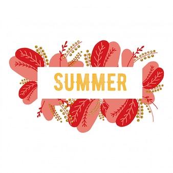夏のレタリング花夏。ピンク色手描きの花でレタリング書道