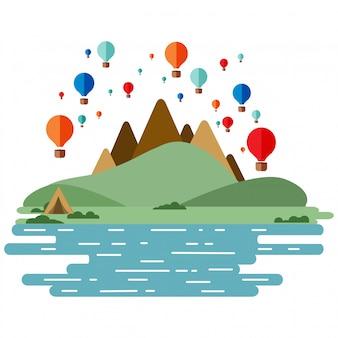 熱気球 - 雲と空に様々な色の風船のセット。山と緑の丘の川。