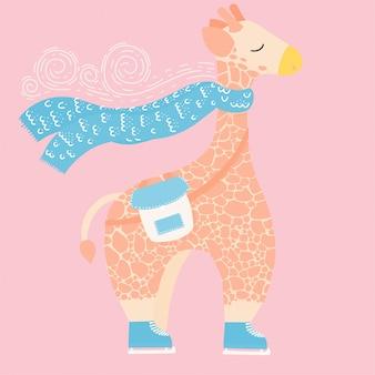 かわいいキリンが身に着けているスカーフ。冬のイラスト。