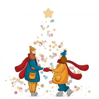 Симпатичные счастливая пара в любви, молодожены, взявшись за руки. они носят теплый красный шарф