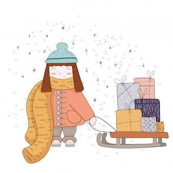 かわいいベクタークリスマスの女の子の贈り物。大きなクリスマスボックスを持つ少女。クリスマスと新年のコンセプト。