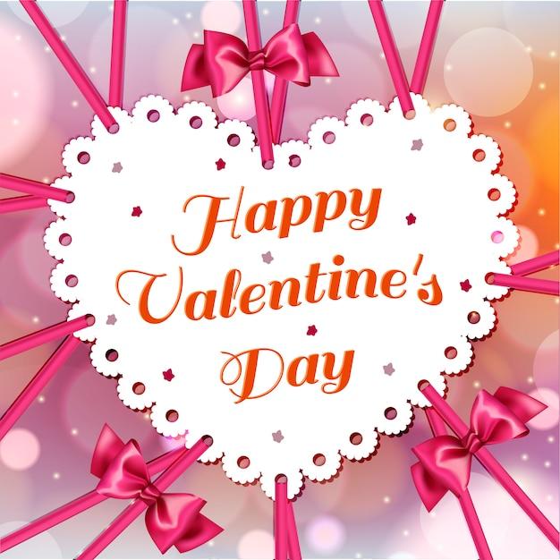 ボケ味を持つ明るい赤の背景にピンクのリボンバレンタインとかわいい白。バレンタイン・デー。
