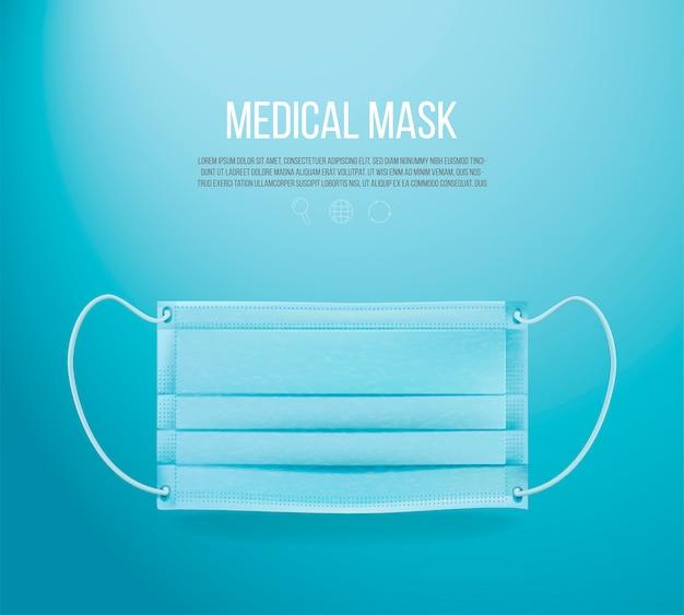 青色の背景に医療用マスク