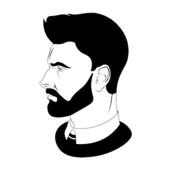 髪型と髭の男性のシルエット。美容師のためのベクトル図。