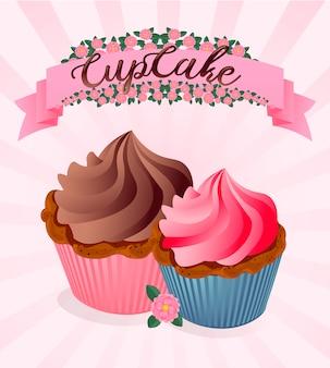 かわいい漫画のカップケーキは、パステルピンクの水玉の背景に。