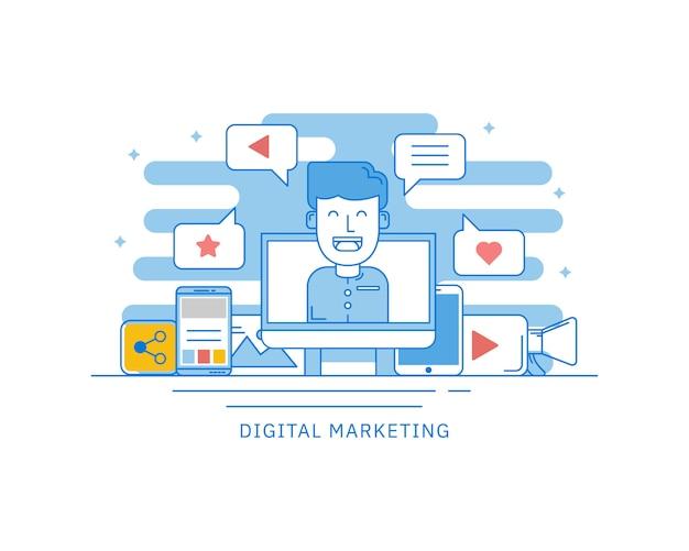 Концепция цифрового маркетинга в интернете для концепции веб-страницы